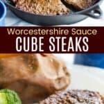 Collage de Pinterest de filetes en cubo con salsa Worcestershire en sartén de hierro fundido