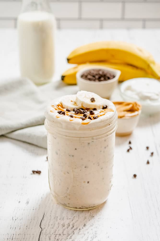 Chocolate Chip Banana Peanut Butter Smoothie in a glass jar