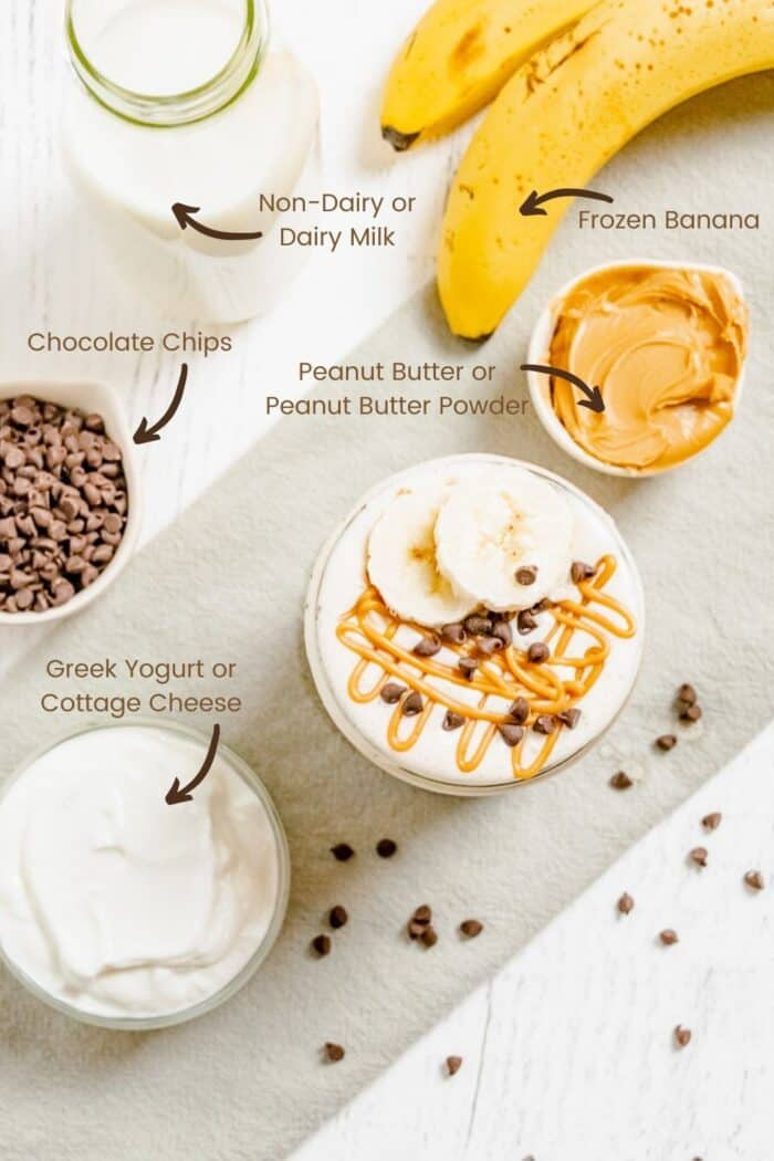 Labeled Ingredients to make a Chocolate Chip Peanut Butter Banana Smoothie