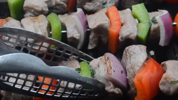 Grilled Greek Beef Kabobs turning once