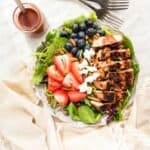 Grilled Chicken Salad with Berries and Goat Cheese recipe image with title