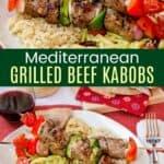 Mediterranean Beef Kabobs Pinterest Collage