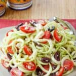 Zoodles Greek Salad Recipe image with title