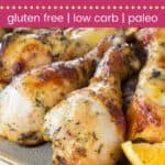 Baked or Grilled Orange Saffron Chicken Legs Pin Template Dark