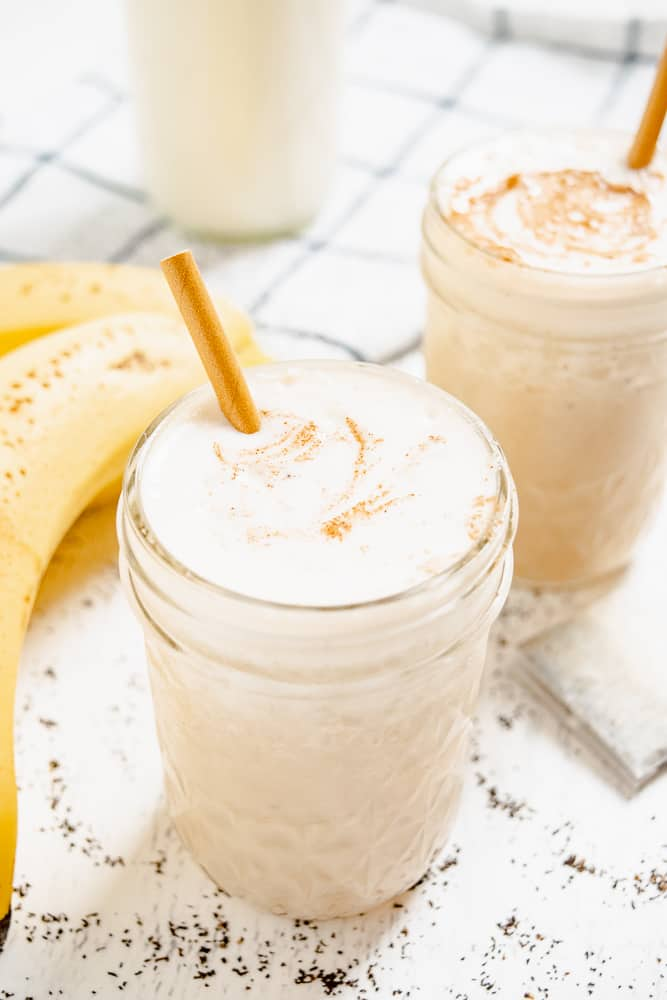 Chai Smoothie made with bananas and chai tea bags as pictured