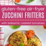 Gluten Free Air Fryer Caprese Zucchini Fritters Pin Template Long