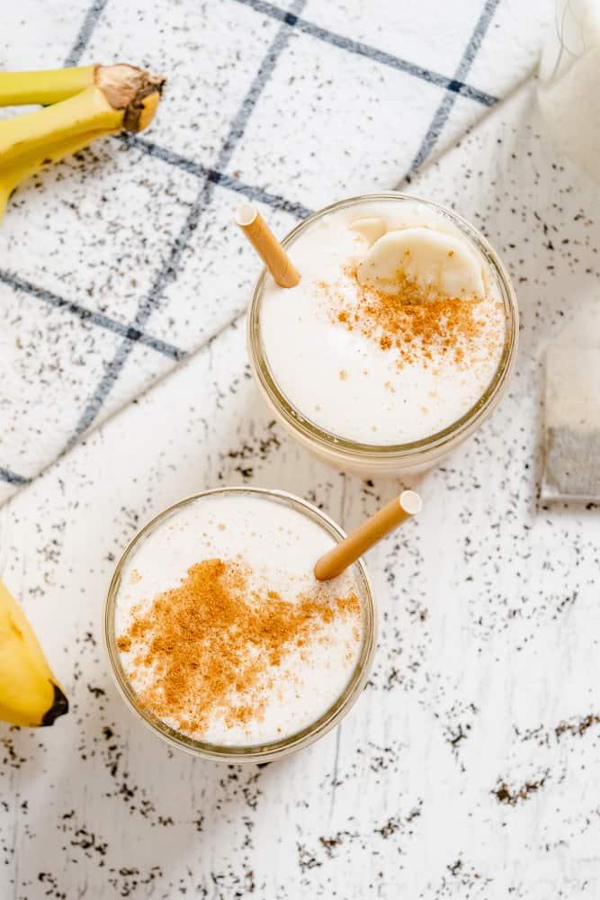 Overhead of two Chai Tea Latte Banana Smoothies