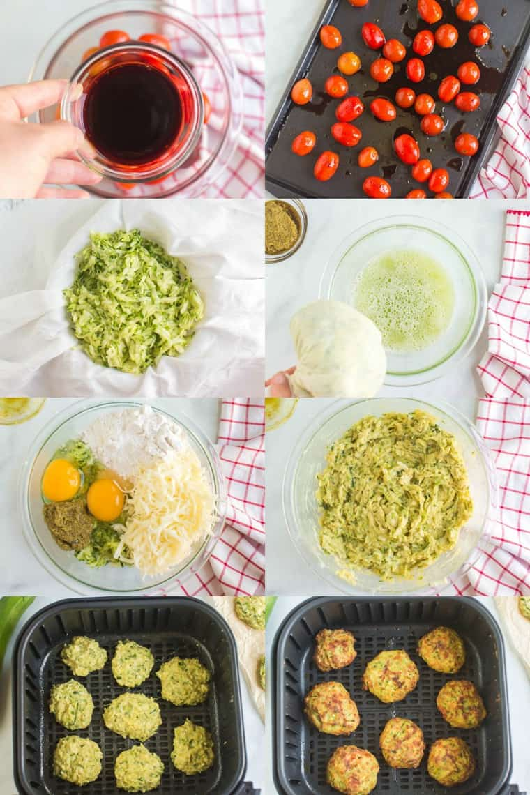Collage of step-by-step process photos for how to make air fryer zucchini fritters and roasted balsamic tomatoes topping