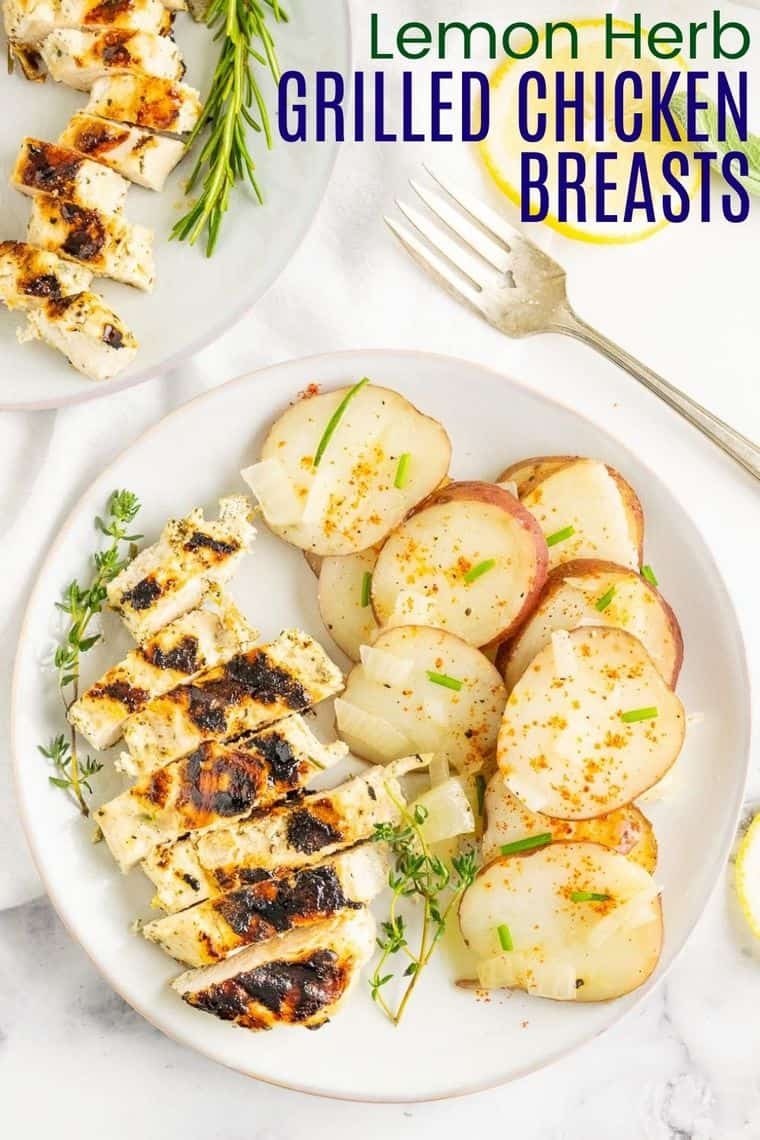 Lemon Herb Grilled Chicken Breasts Recipe Image with title