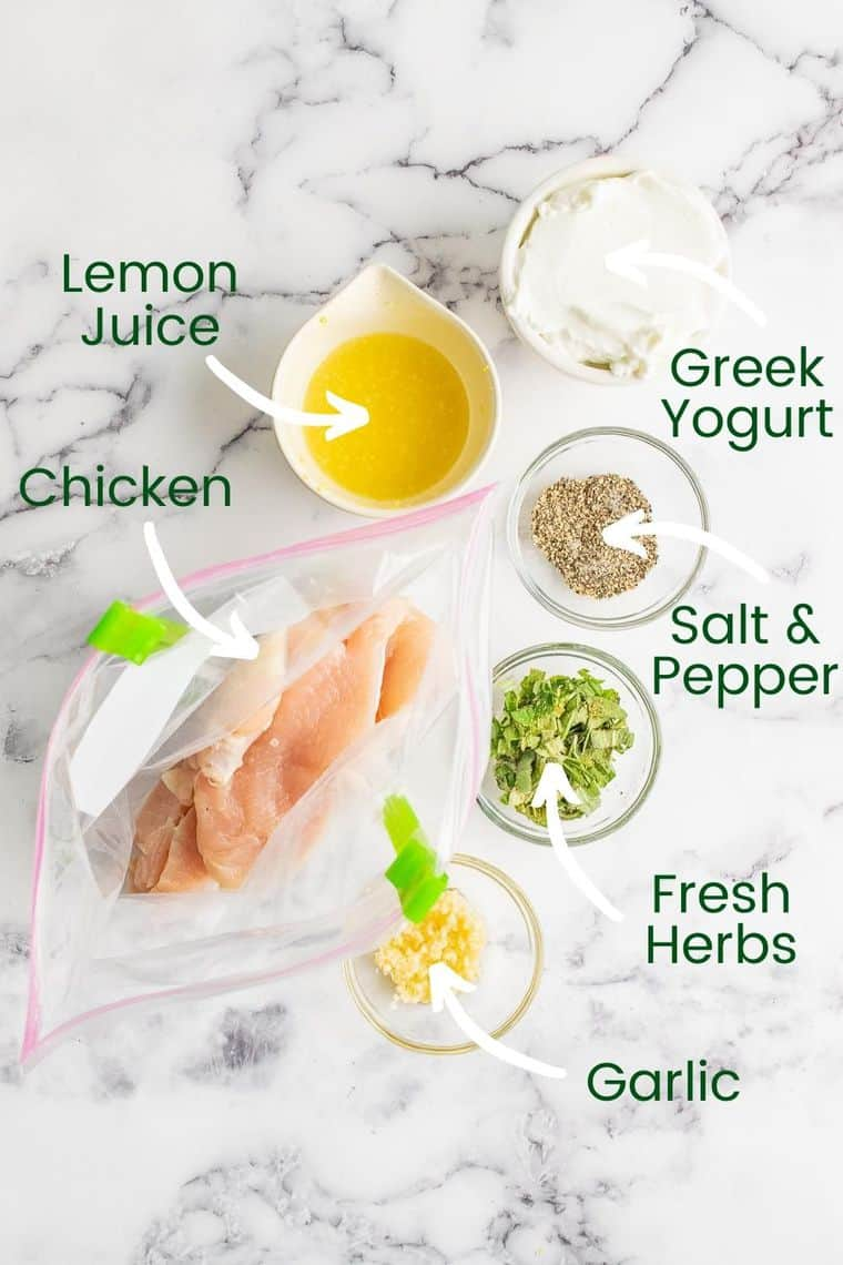 Lemon Yogurt Chicken Marinade ingredients labeled