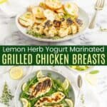 Lemon Herb Yogurt Marinated Chicken Breasts Pinterest Collage