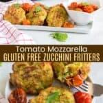 Tomato Mozzarella Gluten Free Zucchini Fritters Pinterest Collage