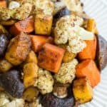 Balsamic Roasted Veggies Recipe Image with Title