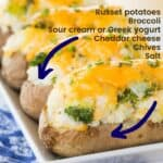 Broccoli Cheddar Baked Potatoes with title and Ingredients on the image