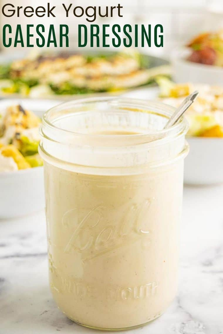 Greek Yogurt Caesar Dressing Recipe image with title