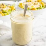 A mason jar of Greek yogurt Caesar salad dressing