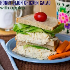 Healthy Honey Dijon Chicken Salad with Apples square photo with title