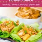 Instant Pot or Slow Cooker Teriyaki Chicken Lettuce Wraps Pin Template Dark