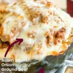 Lasagna Stuffed Acorn Squash with list of Ingredients