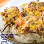 Shepherds Pie Loaded Baked Potatoes with title and Ingredients listed on image