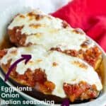 Eggplant Parmesan Stuffed Eggplant Pinterest Collage image with ingredients listed