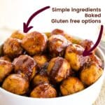 Apple Cider BBQ Turkey Meatballs with text for features including gluten free, baked, simple ingredients
