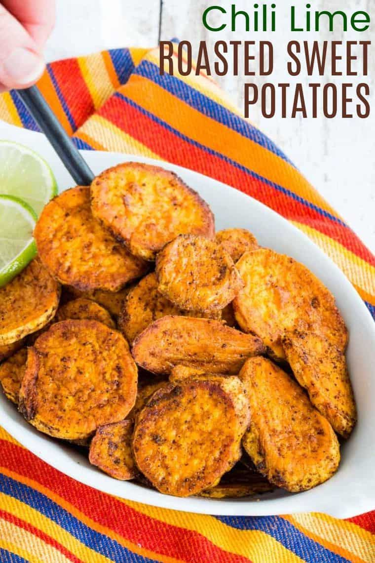 Chili Lime Roasted Sweet Potatoes Recipe image with title