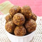 Chocolate Chip Pumpkin Energy Balls Recipe image with title