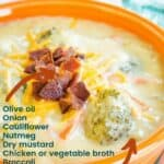 Creamy Cauliflower Broccoli Cheese Soup with title and Ingredients listed