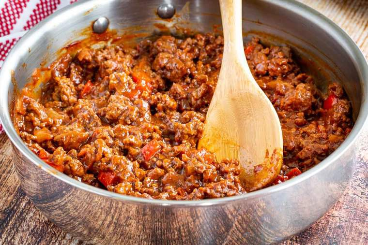 Homemade sloppy joes meat and sauce in a skillet