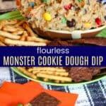 Flourless Monster Cookie Dough Dip Pinterest Collage