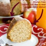 Gluten Free Apple Cider Donut Cake with title and list of recipe Features