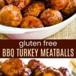 Gluten Free BBQ Turkey Meatballs Pinterest Collage
