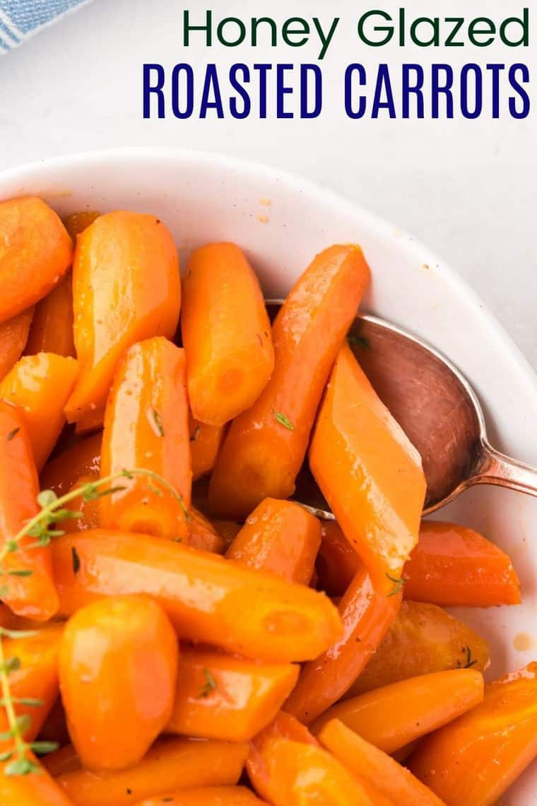 Honey Glazed Roasted Carrots Recipe Image with title