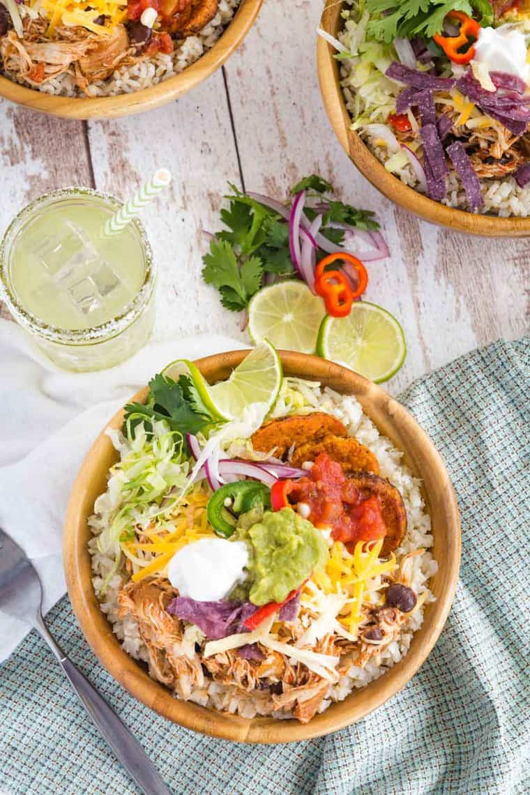 Chicken Burrito Bowl made with cauliflower rice