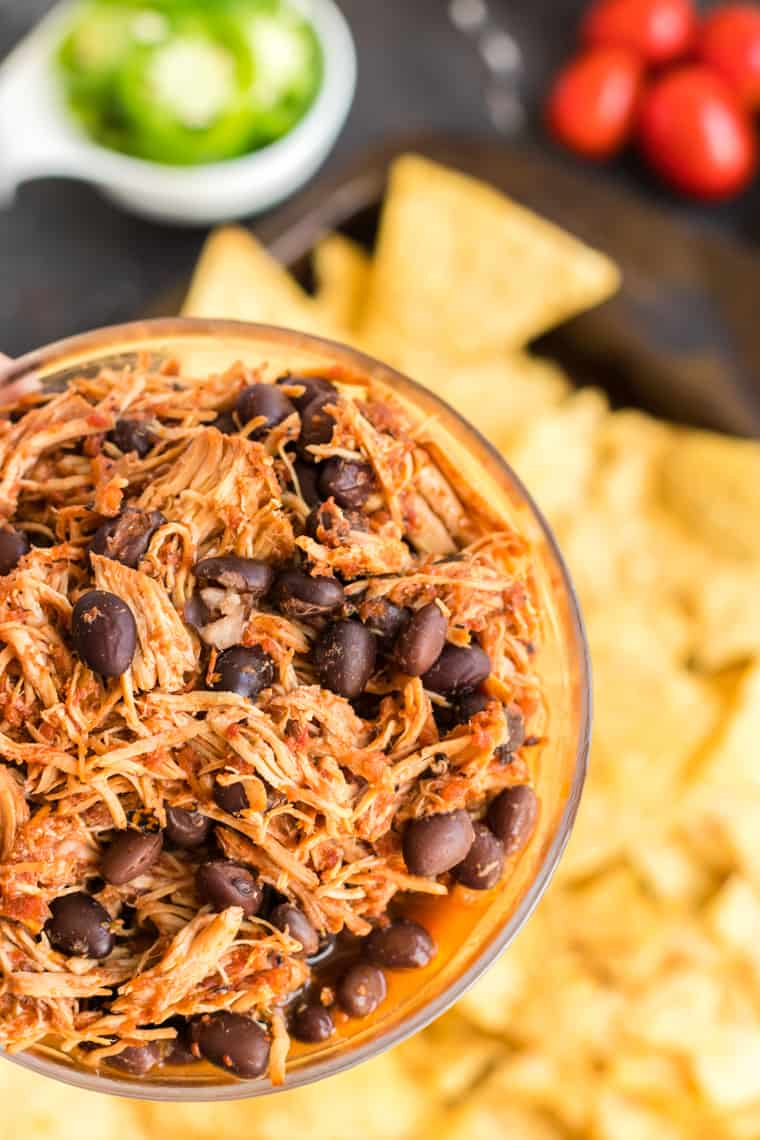 Bowl of salsa chicken and black beans