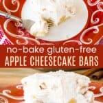 No Bake Gluten Free Apple Cheesecake Bars Recipe Pinterest Collage