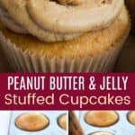 Peanut Butter and Jelly Stuffed Cupcakes Pinterest Collage
