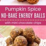 Pumpkin Spice No-Bake Energy Balls Pin Template Long