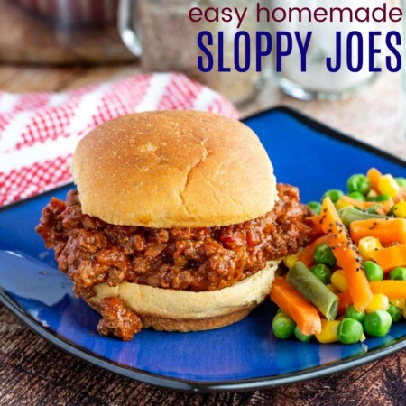 Easy Homemade Sloppy Joes Square featured image with title