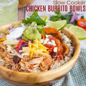 Slow Cooker Chicken Burrito Bowl Recipe square featured image