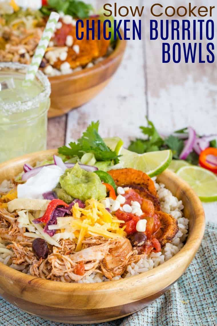 Slow Coooker Chicken Burrito Bowls Recipe Image with title