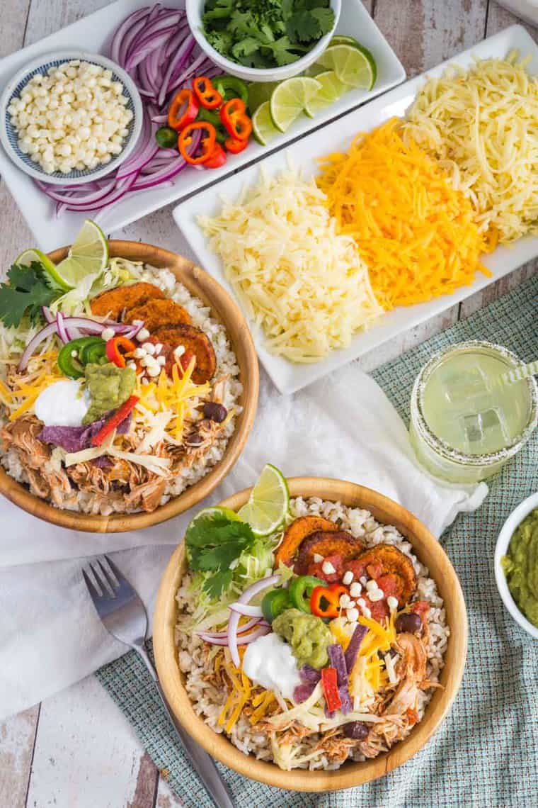 Slow Cooker Mexican Chicken Rice Bowls and Cauliflower Rice Bowls