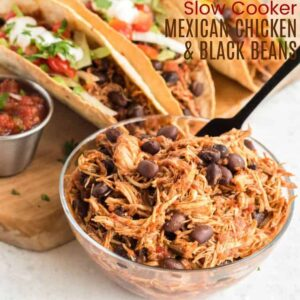 Slow Cooker Mexican Chicken and Black Beans recipe square featured image