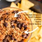 Slow Cooker Mexican Chicken with title text and listed ingredients
