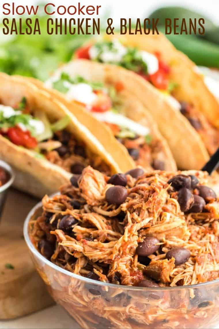 Slow Cooker Salsa Chicken and Black Beans Recipe image with title
