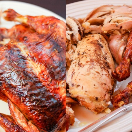 Collage of a whole Roasted Balsamic Rosemary Chicken and carved on a platter