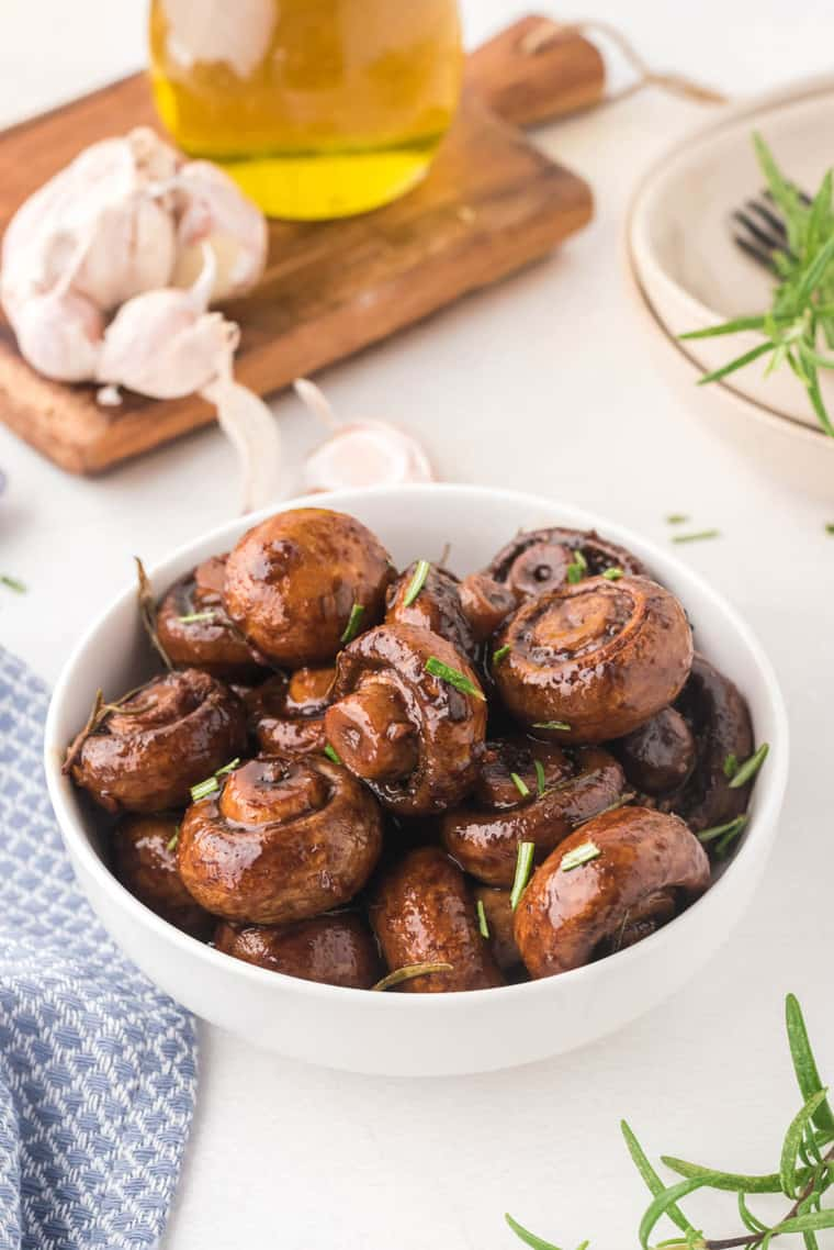 Roasted Garlic Mushrooms with rosemary sprinkled on top