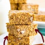 "Pumpkin Quinoa Breakfast Bars with text that says ""Great for Meal Prep"" and ""Freezer Friendly"""