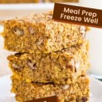 Pumpkin Breakfast Bars with Quinoa and Oatmeal image with text blocks